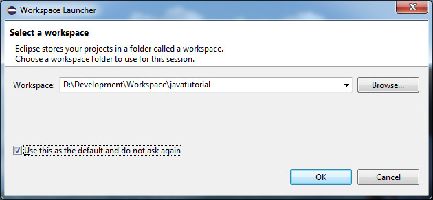 eclipse workspace select