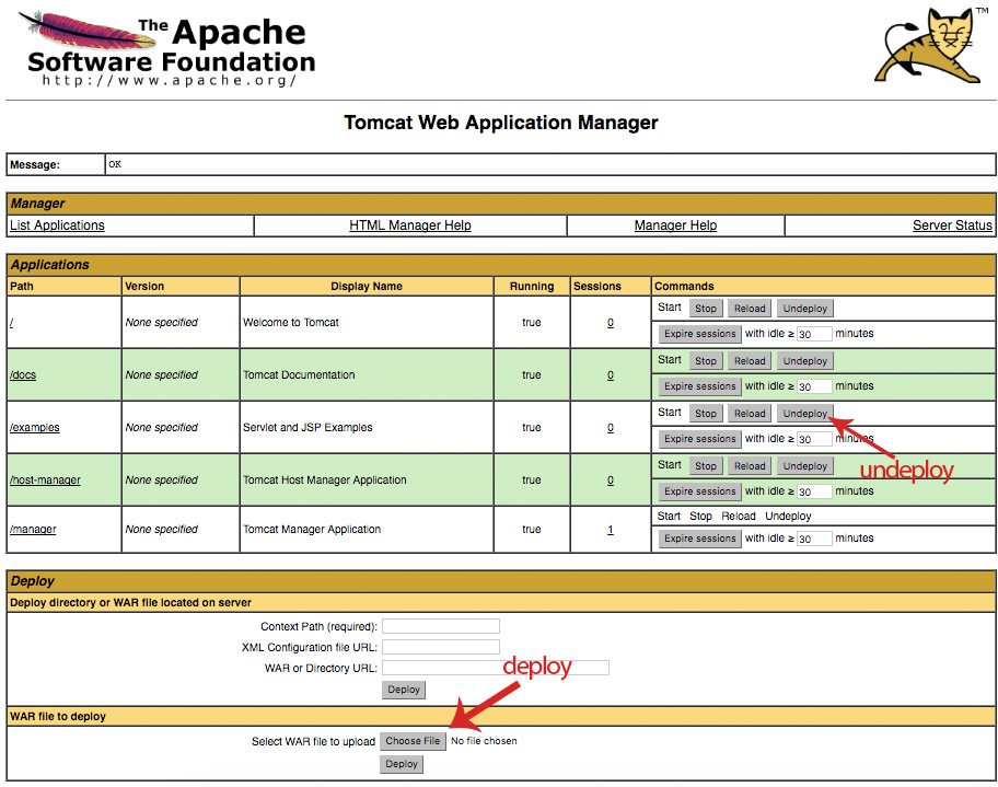 Deploy and undeploy applications using Tomcat manager