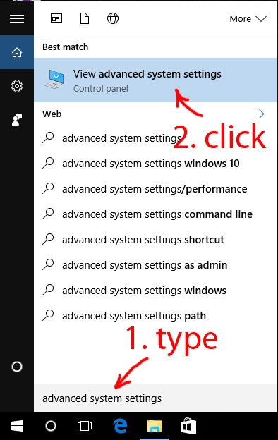 Search for advanced system settings