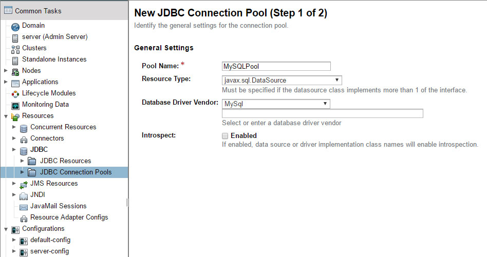 Create JDBC connection pool