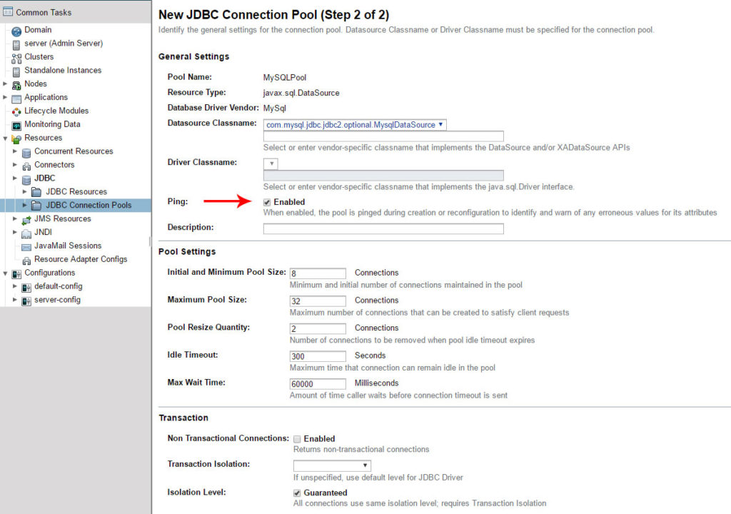 Create JDBC connection pool step 2