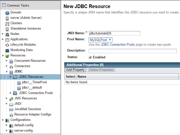 Glassfish create new JDBC resource