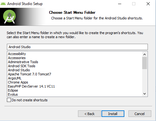 Step 5: Choose start menu folder