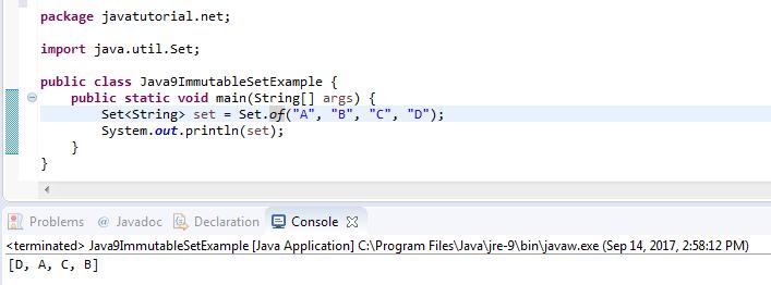 Java 9 Immutable Set Example | Java Tutorial Network