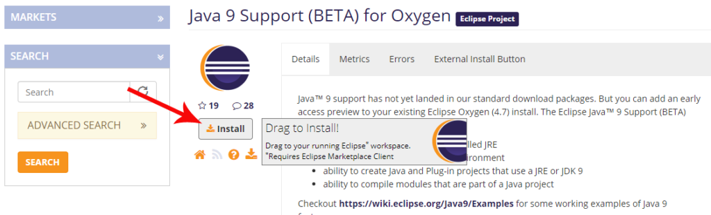 Install Java 9 Support for Eclipse Oxygen