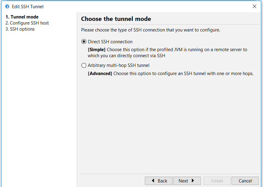 Edit SSH tunnel