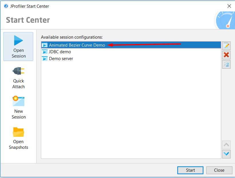 JProfiler start center session configuration