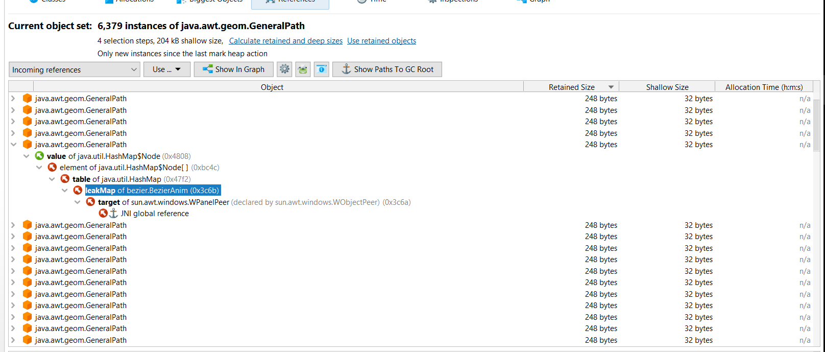 Show paths to GC Root JProfiler