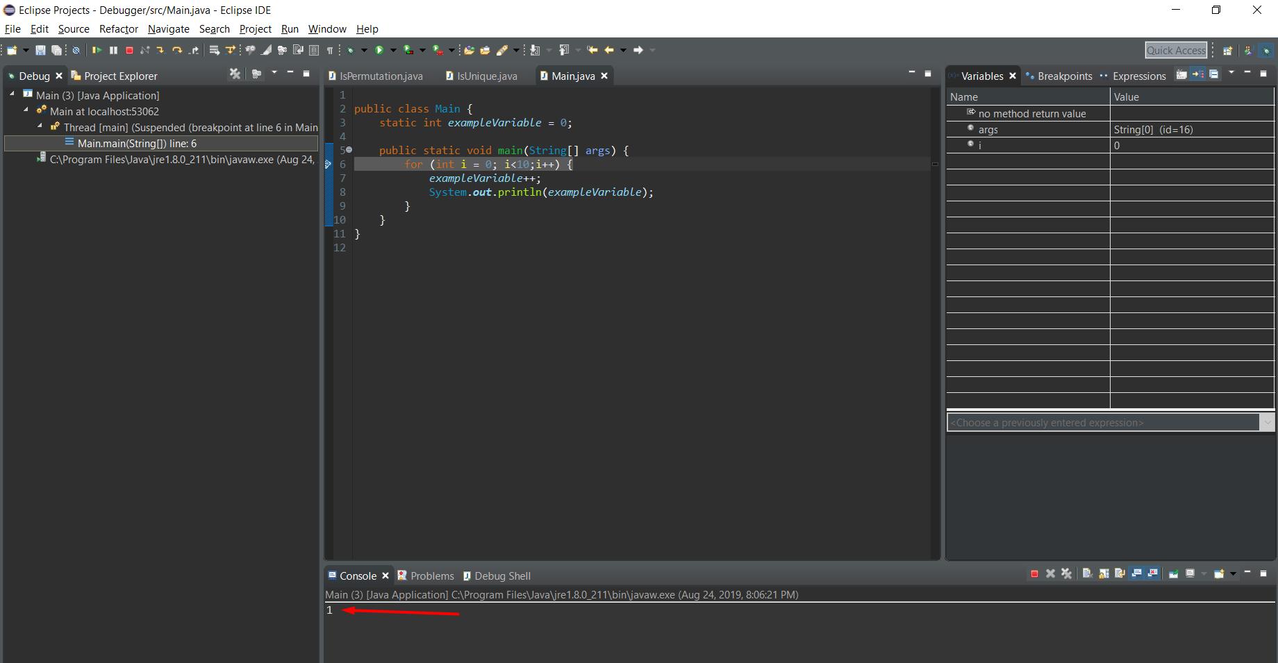Step 3 debugger process