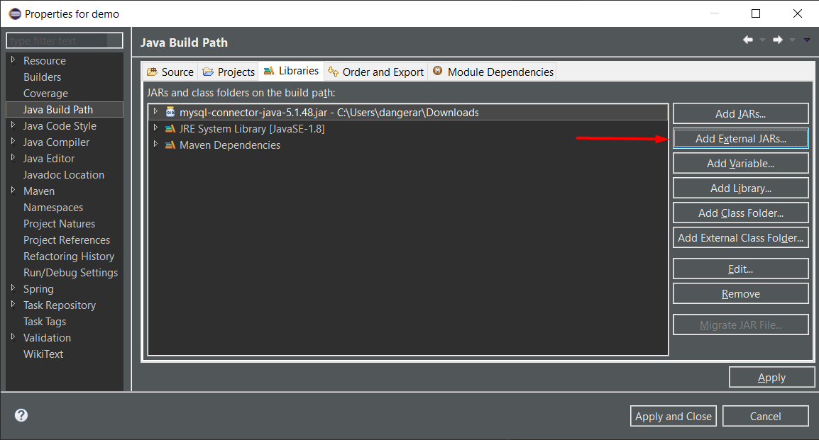 Add External JAR file in Eclipse IDE Java Spring