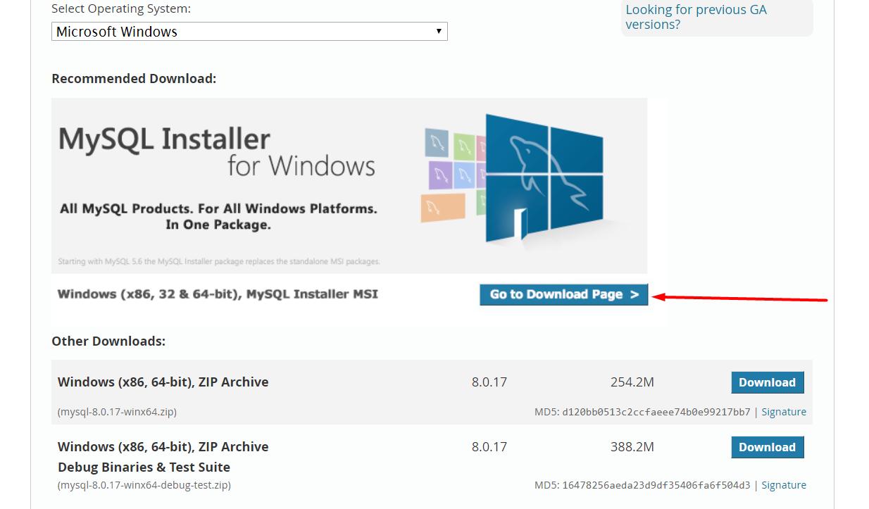 Download Page MySQL